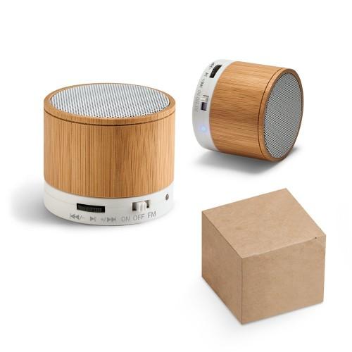Caixa de som com Microfone bambu